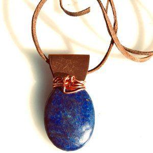 Lapis Lazuli Pendant Necklace Copper Rustic Unisex